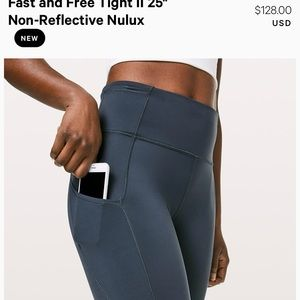 """Lululemon Fast and Free Tight II 25"""" size 4"""